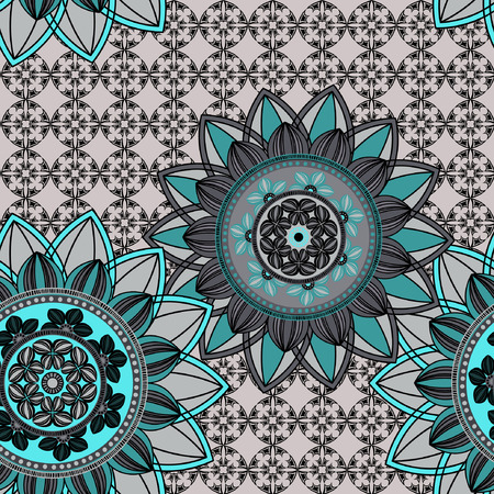 azure: Vintage seamless pattern background. Mandala pattern, floral circle decorative ornament.  Seamless pattern can be used for wallpaper, textile, fabric, wrapping, surface textures for design.