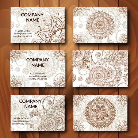 Vintage business cards set ornamental mandala indian arabic banco de imagens vintage business cards set ornamental mandala indian arabic ornaments mehndi henna tattoo design business card vector design reheart Gallery