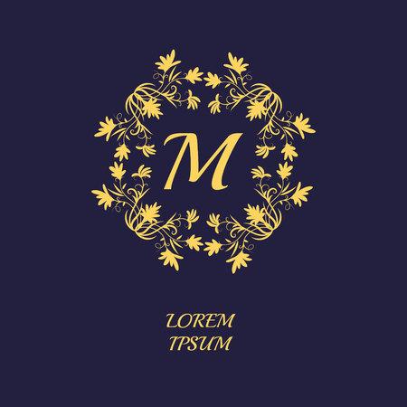 Floral fram. Monogram design template. Floral ornament. Logo design template. Vector illustration
