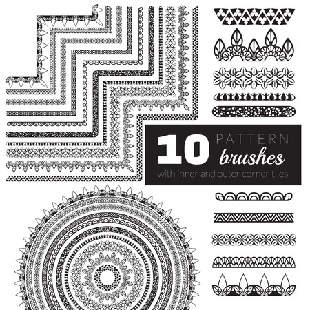 Decorative vector pattern brushes with inner and outer corner tiles. Can be used for borders, ornaments, frames, dividers and design elements. All used brushes are included in brush palette.