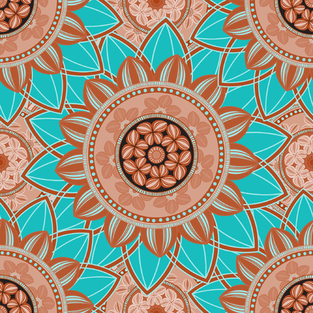 cerulean: Vintage seamless pattern background. Mandala pattern, floral circle decorative ornament. Arabic, islam, indian, turkish, pakistan, ottoman, asian motifs. Seamless pattern can be used for wallpaper, textile, fabric, wrapping, surface textures for design. V