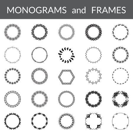 marcos redondos: marcos abstractos florales fijadas. Monograma plantillas de colección. Marcos negros aislados en el fondo blanco. Marcos redondos. ilustración vectorial Vectores