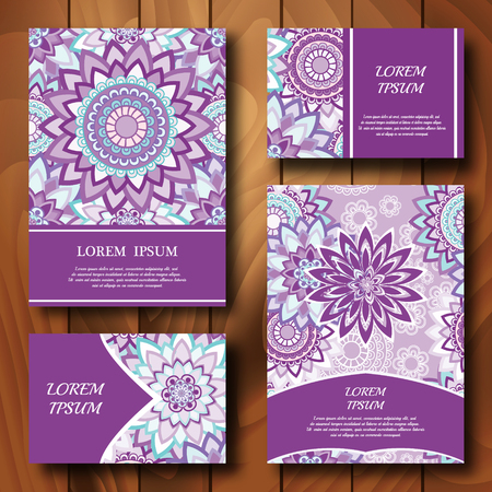 Vector templates set. Business cards, banners, fliyers, invitations with mandala ornaments. Islam, Arfbic, Indian, Turkish, Ottoman, Pakistan mitifs. Design template.
