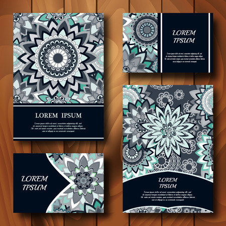 Vector templates set business cards banners fliyers or business cards banners fliyers or invitations with mandala ornaments colourmoves