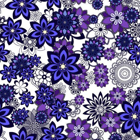 orintal: Mandala pattern, floral elements, decorative ornament. Seamless pattern background.  Arabic, Asian, ottoman motifs. Vector illustration