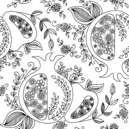 Rosh Hashanah (Jewish New Year) seamless pattern background. Hand drawn elements and hebrew text Happy New Year and  Happy holiday. Rosh Hashanah symbols. Vector illustration