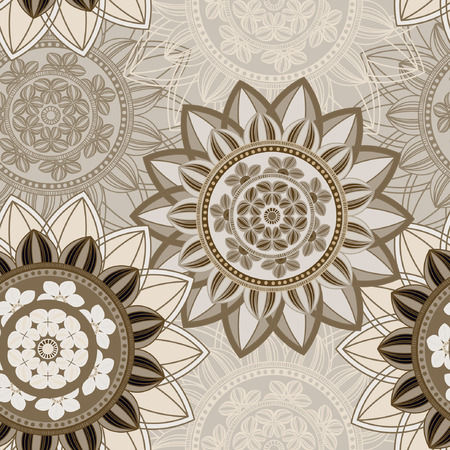 Vintage seamless pattern background. Mandala pattern, floral circle decorative ornament. Arabic, islam, indian, turkish, pakistan, ottoman, asian motifs. Seamless pattern can be used for wallpaper, textile, fabric, wrapping, surface textures for design. V