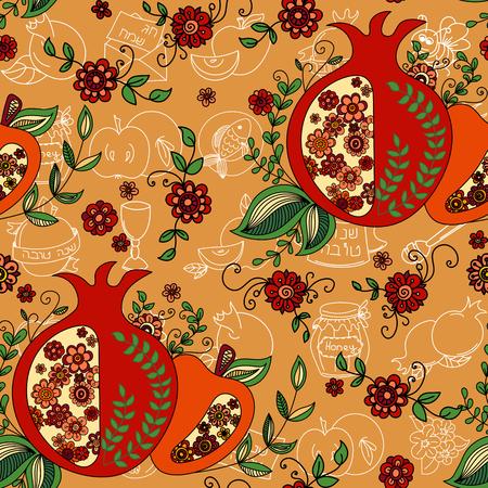 rosh: Rosh Hashanah (Jewish New Year) seamless pattern background. Hand drawn elements and hebrew text Happy New Year and  Happy holiday. Rosh Hashanah symbols. Vector illustration