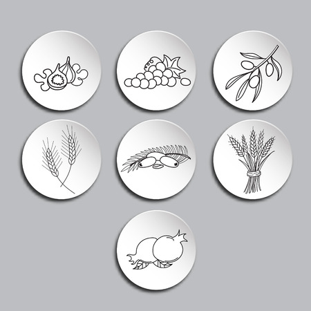Seven Species icons set. Seven Species are seven agricultural products - two grains and five fruits which are listed in the Hebrew Bible as being special products of the Land of Israel.