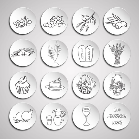 Shavuot icon set. Hand drawn elements for design.