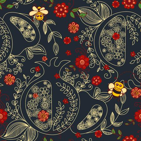 """Roch Hachana (Nouvel An juif) seamless background. éléments dessinés à la main et le texte hébreu """"Happy New Year"""" et """"Bonnes vacances"""". symboles de Roch Hachana. Vector illustration"""