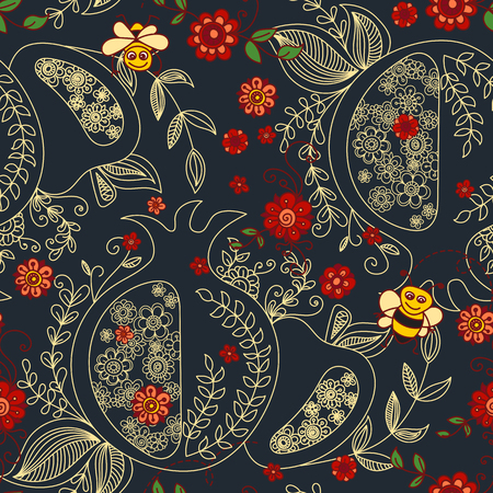 Rosh Hashanah (Jewish New Year) seamless pattern background. Hand drawn elements and hebrew text