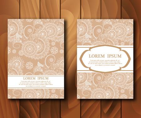 Vettoriale vintage carte in stile mehndi. Invito, carte con elementi Henna Mehndi. modello di progettazione. Illustrazione vettoriale.