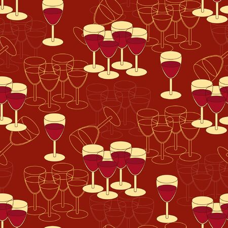 cereal bar: Seamless pattern with grapes and wine glass. Wine festival background. Vector illustration.