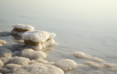 Totes Meer Morgendämmerung, Salz Felsen am Toten Meer Standard-Bild
