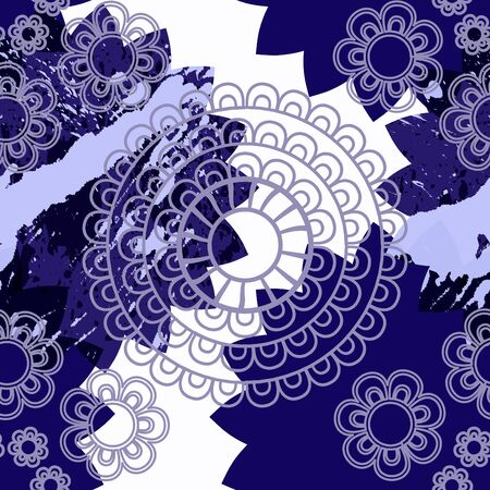 arab spring: Mandala pattern, floral elements, decorative ornament. Seamless pattern background. Arab, Asian, ottoman motifs. Vector illustration Illustration