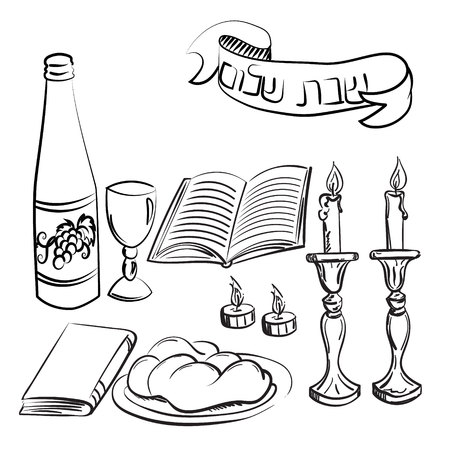 Shabbat symbols set. Hand drawn elements. Hebrew text Shabat Shalom. Vector illustration Çizim