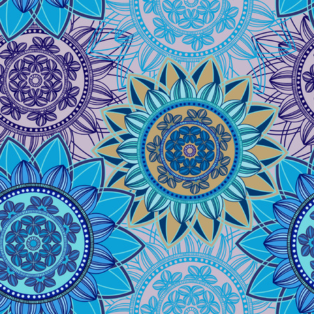 Vintage seamless pattern background. Mandala pattern, floral circle decorative ornament. Arabic, islam, indian, turkish, pakistan, ottoman, asian motifs. Seamless pattern can be used for wallpaper, textile, fabric, wrapping, surface textures for design. V Vector Illustration