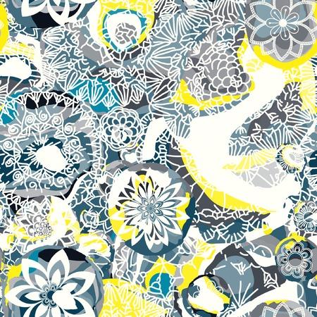 Floral seamless pattern. Hand drawn flowers and blots. Floral mandala ornament. Vector illustration. Иллюстрация