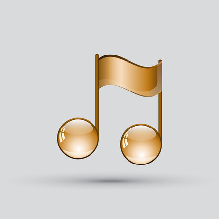 crotchets: Note sing icon. Musical symbol. Golden note on gray background. Vector illustration Illustration