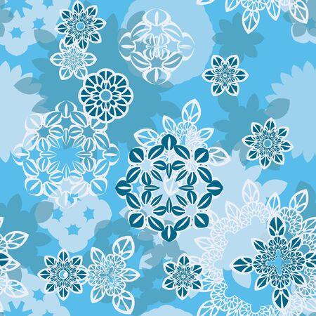 Mandalapatroon, bloemenelementen, bloemen decoratief ornament. Naadloze patroonachtergrond. Vector illustratie
