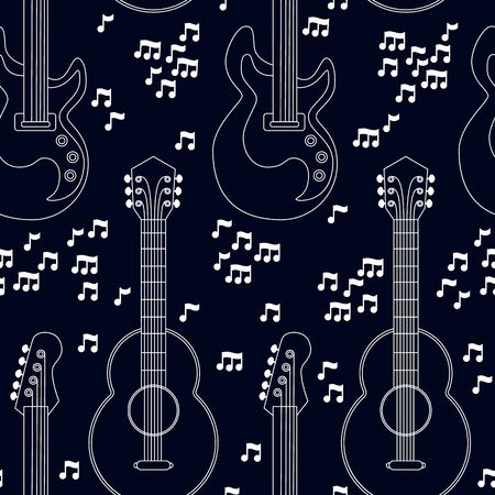 Musical instruments seamless pattern. Guitars and notes on black background. Vector illustration