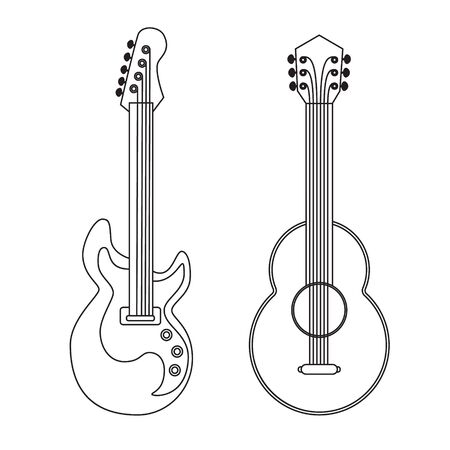 string instrument: Acoustic and electric guitars set. Musical string instrument. Linear icon. Design elements. Vector illustration. Illustration