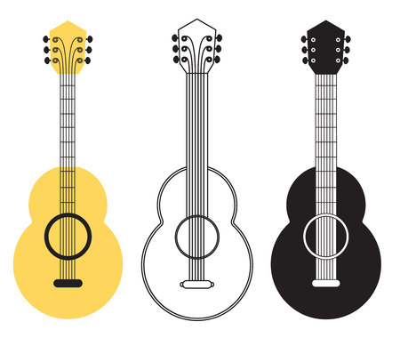 string instrument: Classical acoustic guitar set. Musical string instrument. Design elements. Vector icons collection