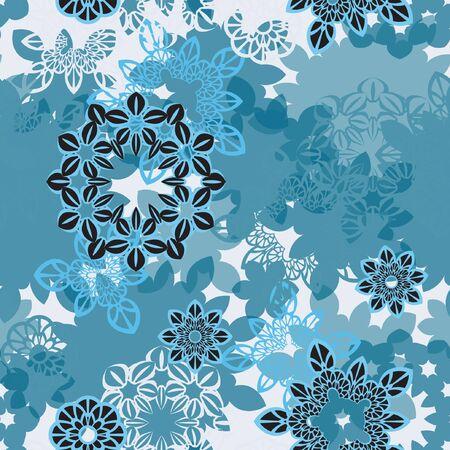 orintal: Mandala pattern, floral elements, flowers decorative ornament. Seamless pattern background. Vector illustration