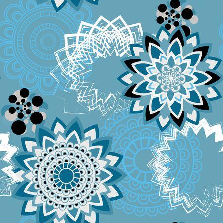 wrappers: Mandala pattern, floral elements, decorative ornament. Seamless pattern background. Arab, Asian, ottoman motifs. Vector illustration Illustration