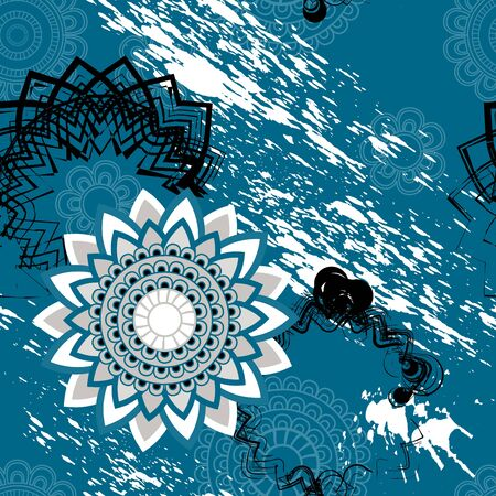 Mandala pattern, floral elements, decorative ornament. Seamless pattern background. Arab, Asian, ottoman motifs. Vector illustration Illustration