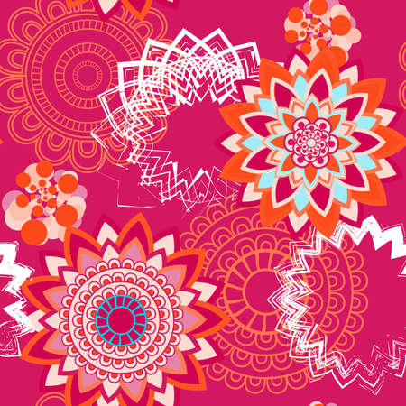 Mandala pattern, floral elements, decorative ornament. Seamless pattern background. Arab, Asian, ottoman motifs. Vector illustration Illustration