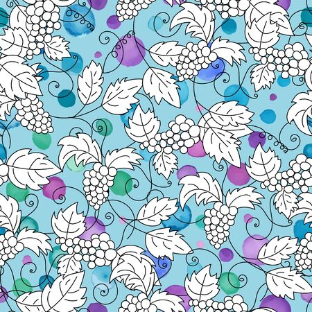 clamber: Hand drawn grapes seamless pattern. Doodles elements on blue background. Vector illustration.