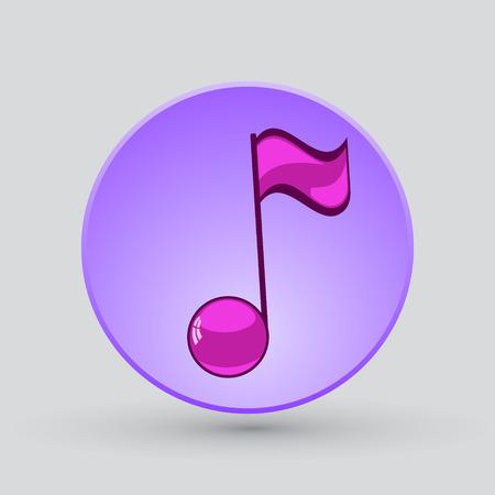 quaver: Note sing icon. Musical symbol. Vector illustration