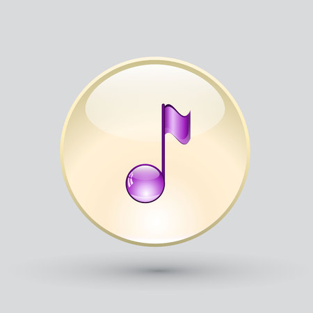 crotchets: Note sing icon. Musical symbol. Vector illustration