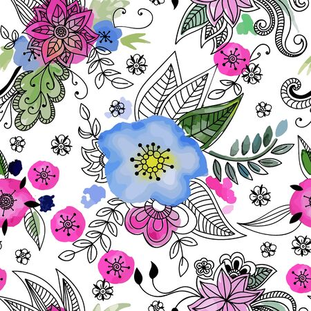 Floral seamless pattern. Hand drawn flowers and blots. Floral mandala ornament. Vector illustration. Stock Photo
