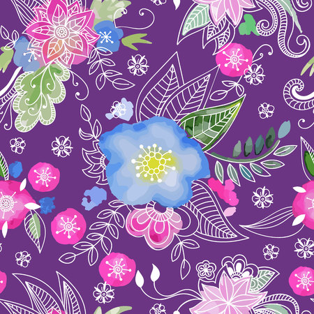 Floral seamless pattern. Hand drawn flowers and blots. Floral mandala ornament. Vector illustration. 일러스트