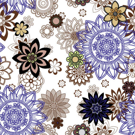 orintal: Mandala pattern, floral elements, decorative ornament. Seamless pattern background. Arab, Asian, ottoman motifs. Vector illustration Illustration