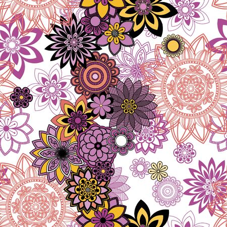 arab spring: Mandala pattern, floral elements, decorative ornament. Seamless pattern background.  Arab, Asian, ottoman motifs. Vector illustration