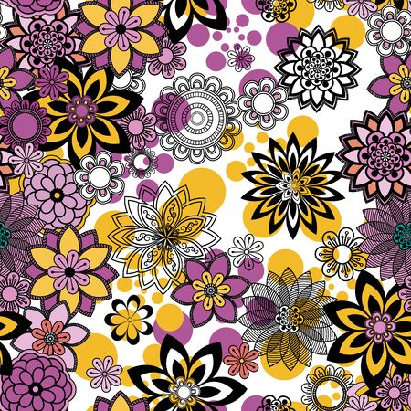 Mandala pattern, floral elements, decorative ornament. Seamless pattern background.  Arab, Asian, ottoman motifs. Vector illustration