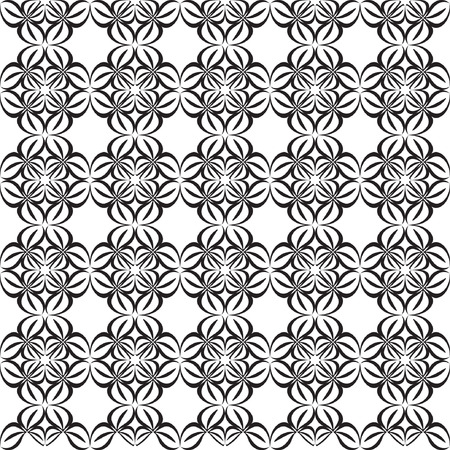 bstract: Geometric background. Seamless pattern and texture. Black and white ornament template. Vector illustration.