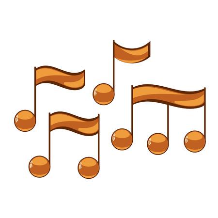 crotchets: Note sing icons set. Musical symbol. Vector illustration