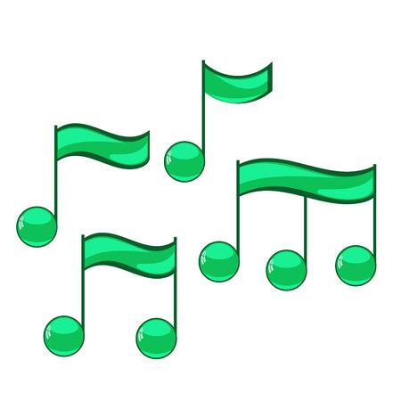 quaver: Note sing icons set. Musical symbol. Vector illustration