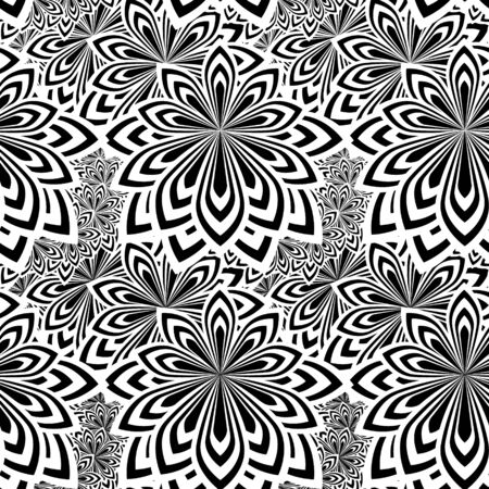 Floral psychedelic seamless pattern. Stylized flowers. Black and white modern background. Vector illustration.