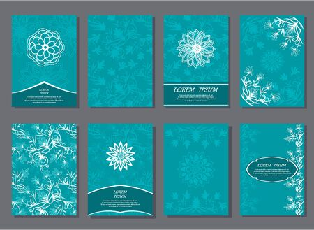 Set of brochures templates. Cover template design. Floral abstract pattern, geometric ornaments cards. Vector illustration