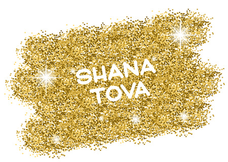 Rosh Hashanah (Jewish New Year) greeting card. Hebrew text Happy New Year (Shana Tova). Golden background. Vector illustration Illustration