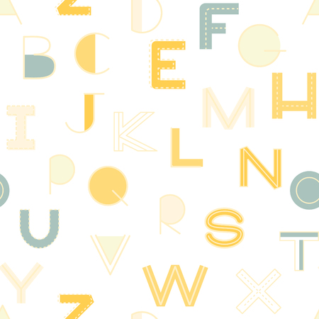 english textures: Seamless pattern alphabet background in bright colors. Vector illustration with randomly distributed english letters. Seamless pattern can be used for wallpaper, textiles, prints, fabric, gift wrap, surface textures for design. Illustration