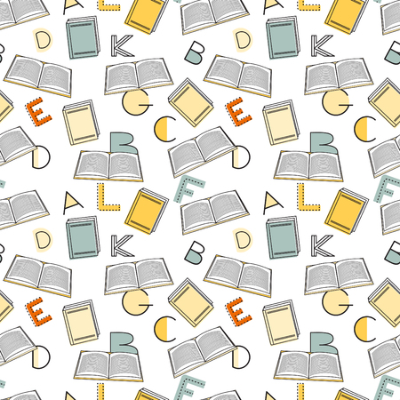 alphabet wallpaper: Seamless pattern alphabet background in bright colors. Vector illustration with randomly distributed english letters. Seamless pattern can be used for wallpaper, textiles, prints, fabric, gift wrap, surface textures for design. Illustration