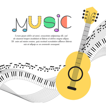 Music background, poster template, greeting card, invitation design background. Guitar, nots and musical symbols on white background. Vector illustration.