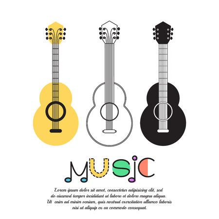 Music background, poster template, greeting card, invitation design background. Guitarson white background. Vector illustration.